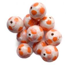 Lune Perles en bois - Lune - Blanc et orange Babachic by Moodywood