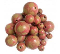 Moon Wooden beads - Moon - Coral and brown Babachic by Moodywood