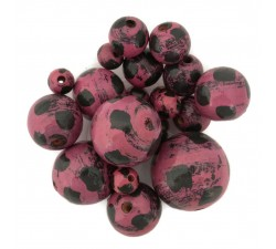 Moon Wooden beads - Moon - Magenta, black Babachic by Moodywood