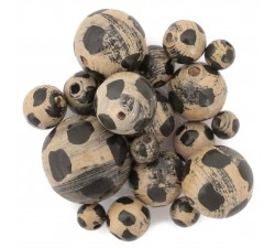Moon Wooden beads - Moon - Beige and black Babachic by Moodywood