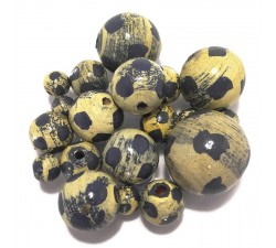 Moon Wooden beads - Moon - Pale yellow and blue Babachic by Moodywood