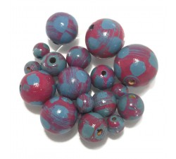 Moon Wooden beads - Moon - Magenta and turquoise Babachic by Moodywood