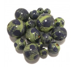 Moon Wooden beads - Moon - Green and blue Babachic by Moodywood