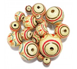 Lantern Lantern wooden beads - White, red and orange Babachic by Moodywood