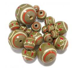 Lantern Lantern wooden beads - Khaki Babachic by Moodywood