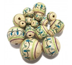 Lanterne Perles en bois Lanterne - Blanc antique et bleu Babachic by Moodywood