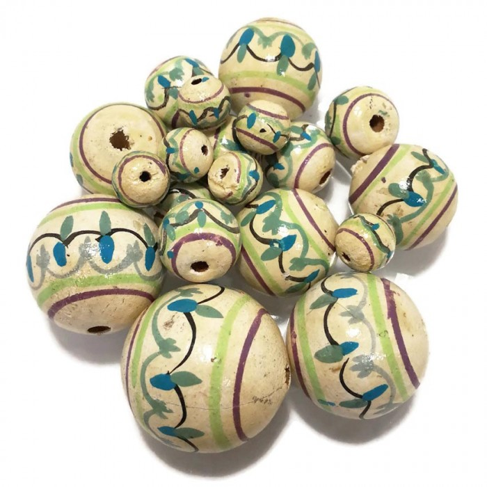 Lantern wooden beads - Antic white and blue