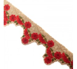 Broderies Bordure Flamenco - Beige et rouge - 100 mm babachic