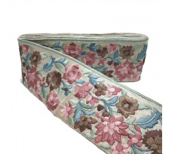 Embroidery Silk border - Pink and blue - 90 mm babachic