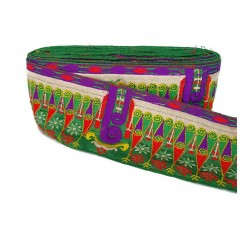 Broderies Bordure Indienne - Vert, rouge et violet - 90 mm babachic