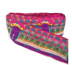 Embroidery Indian border - Pink, green and purple - 90 mm babachic