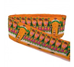 Broderies Bordure large Indienne - Orange - 90 mm babachic