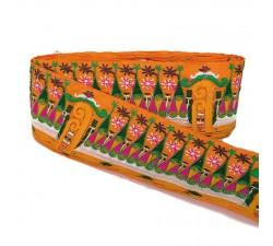 Broderies Bordure large Indienne - Orange - 90 mm babachic