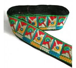 Embroidery Ethnic border - Black, green, red, blue - 75 mm Babachic by Moodywood