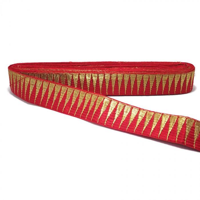 Bordure rouge avec des fils dorés en forme de pics - 30 mm