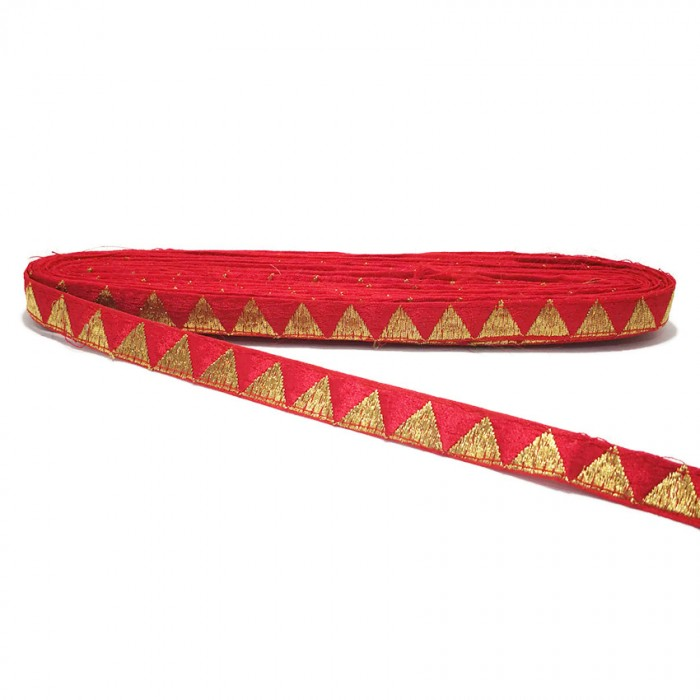 Red ribbon with golden triangles - 15 mm