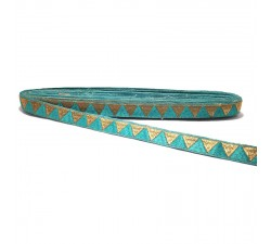 Turquoise ribbon with golden triangles - 15 mm