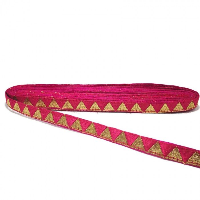 Fushia ribbon with golden triangles - 15 mm