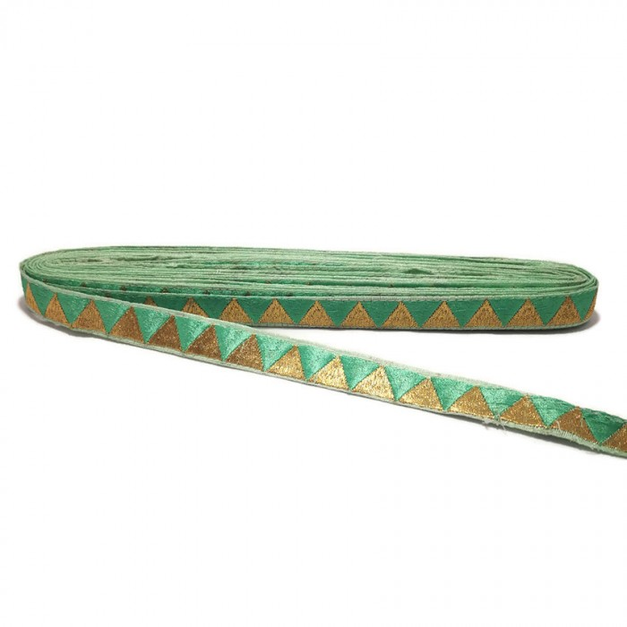 Braid Green ribbon with golden triangles - 15 mm Babachic by Moodywood