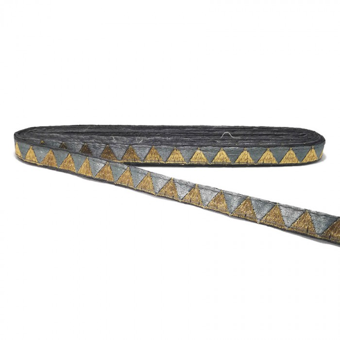 Grey ribbon with golden triangles - 15 mm
