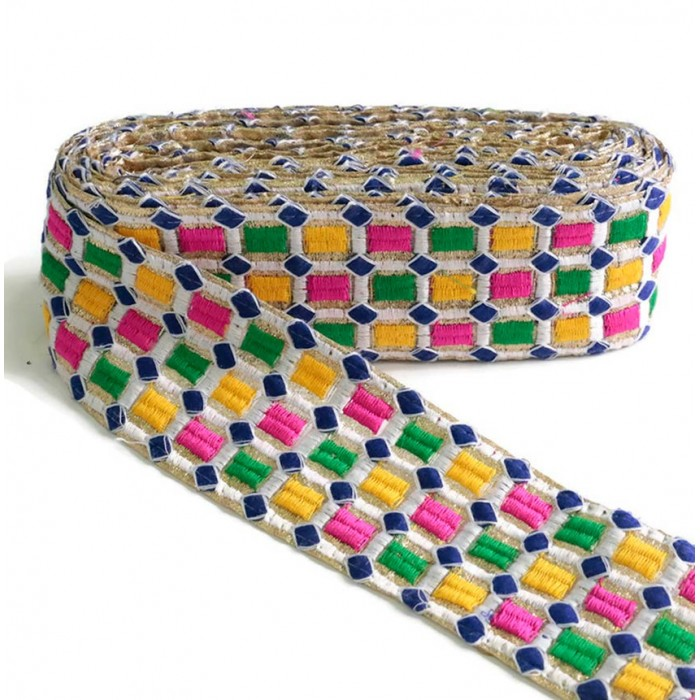 Embroidered braid - Mosaic - Pink, green, yellow, white and yellow - 65 mm