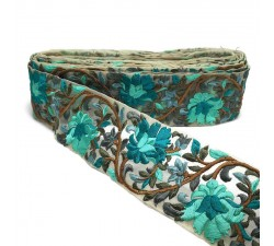 Embroidery Silk embroidered on tul - Turquoise - 60 mm babachic