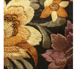 Embroidery Sewing border in beige and black silk - 65 mm of width babachic