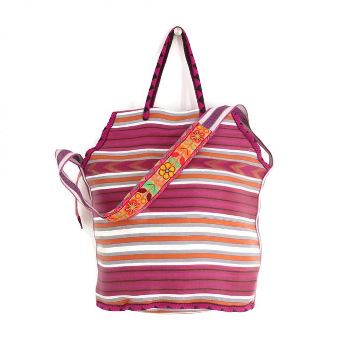 Grand sac de plage couleur magenta et orange