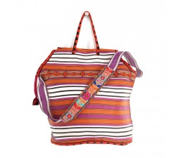 Big magenta and orange color beach bag
