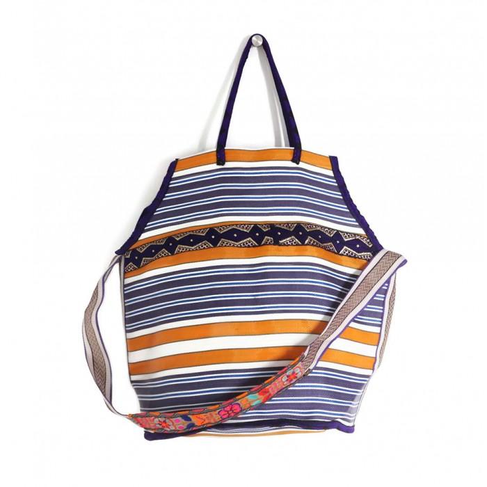 Grand sac de plage couleur violet et jaune