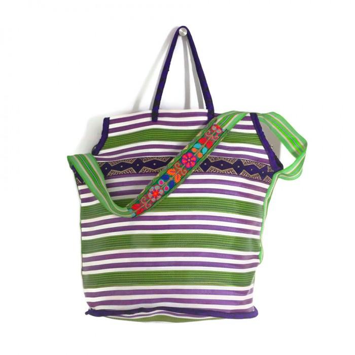 Grand sac de plage couleur violet et vert