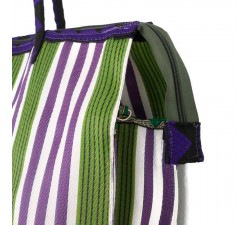 Tote bags Cabas classique carré rayures vert et violet Babachic by Moodywood
