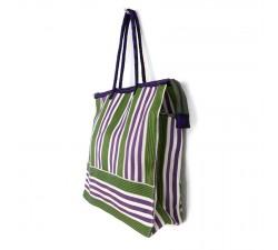 Sacs Cabas classique carré rayures vert et violet Babachic by Moodywood