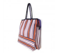 Tote bags Cabas classique carré rayures rose, orange et violet Babachic by Moodywood