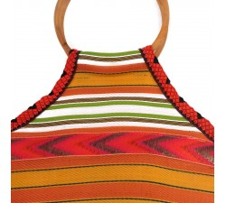 Bamboo bag Small orange, yellow and green Bamboo handbag Babachic by Moodywood
