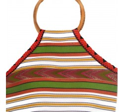 Bamboo bag Small orange and green Bamboo handbag Babachic by Moodywood