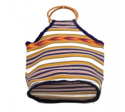 Bamboo bag Small yellow and purple Bamboo handbag Babachic by Moodywood