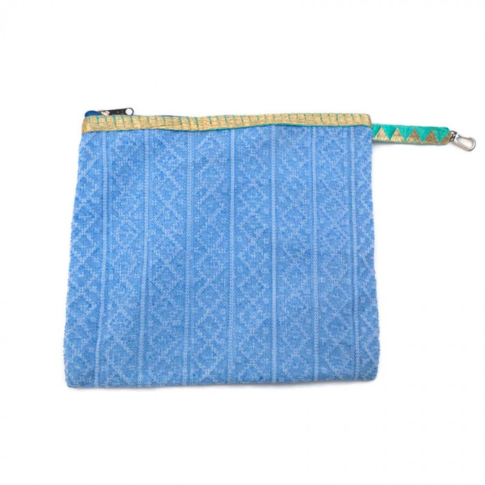 Golden light blue clutch