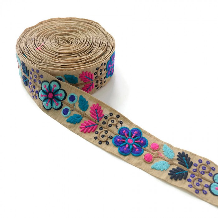Broderie Mexicaine bleue - 50 mm