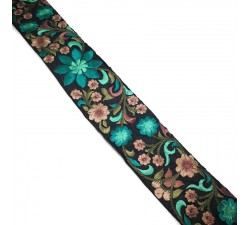 Broderies Broderie en soie noire et turquoise - 50 mm babachic