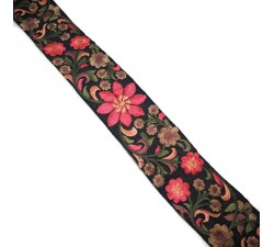 Broderies Broderie en soie noire et rose - 50 mm babachic