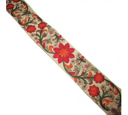 Embroidery Silk border beige and orange - 50 mm babachic