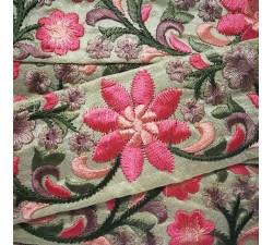 Bordado Cinta de seda beige y rosa - 50 mm babachic