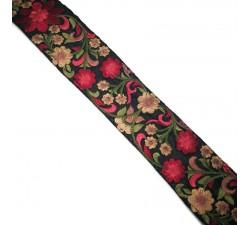Bordado Cinta de seda negra y rojo - 50 mm babachic