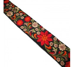 Embroidery Silk border black and orange - 50 mm babachic