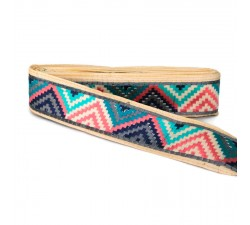 Embroidery Blue, pink and gray zigzag border - 45 mm babachic