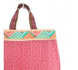 Bordado Cinta de zigzag turquesa y rosa - 45 mm babachic