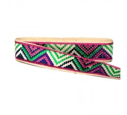 Embroidery Magenta and green zigzag border - 45 mm babachic