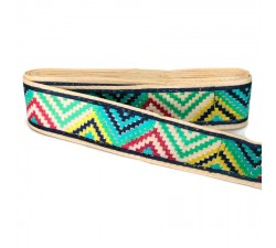 Embroidery Blue, yellow and black zigzag border - 45 mm babachic