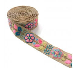 Embroidery Broderie Mexicaine rose - 50 mm babachic